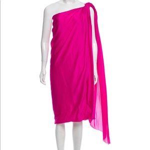 Magenta Lanvin one-shoulder silk dress